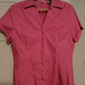Womens collared button up bright pink too